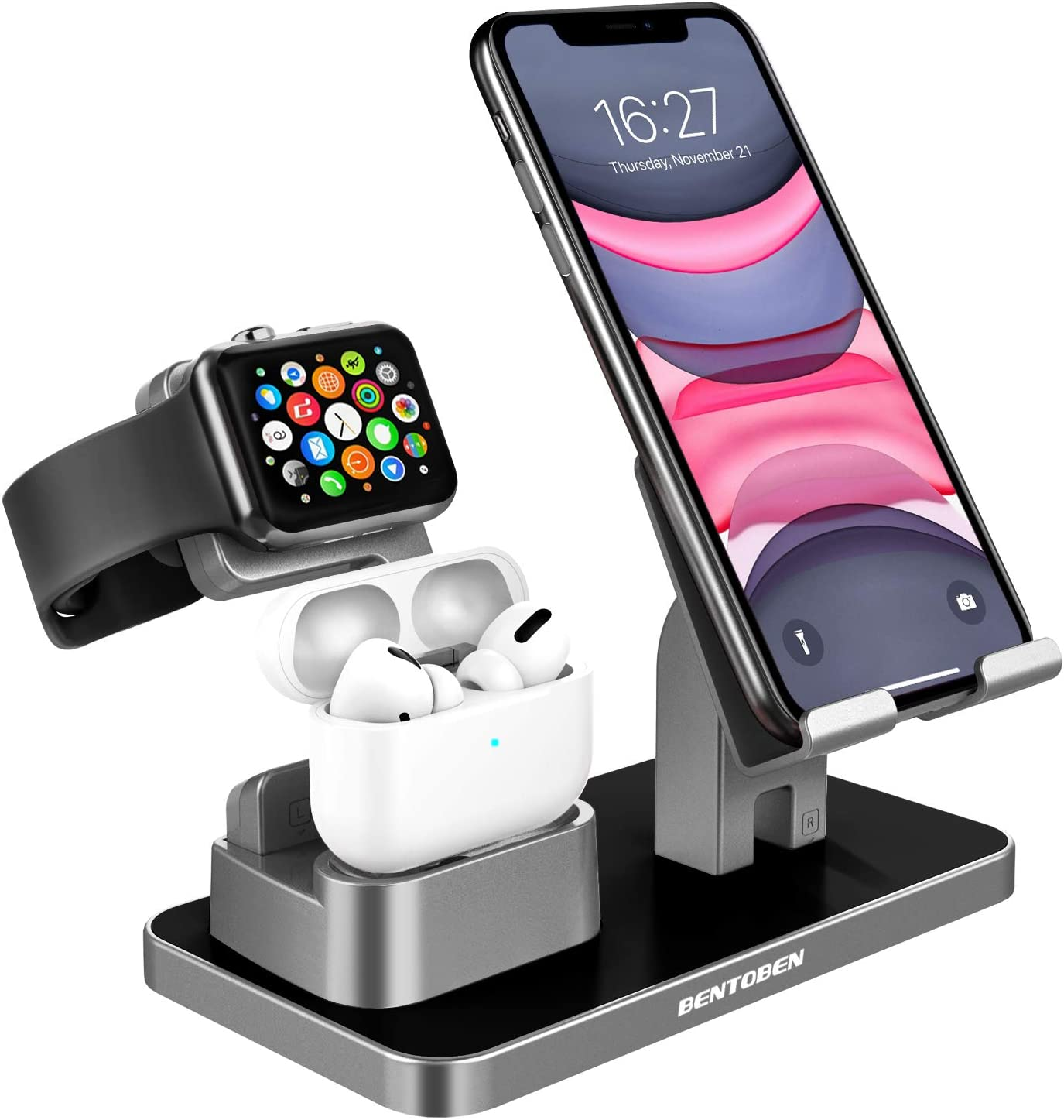 KANGYA 3 in 1 Charging Stand, Charging Dock Compatible with Airpods Pro 2/1 Apple Watch SE/6/5/4/3/2 iPhone 12 11 SE 2020 Xs Max XR X 8 7 6S 6 Plus 5S 5 Android Smartphone iPad Tablet, Space Gray
