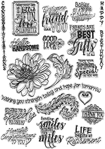 Flowers Leaves Birthday Blessing Phrase Rubber Clear Stamps for Card Making Decoration and DIY Scrapbooking Photo Card Album Template