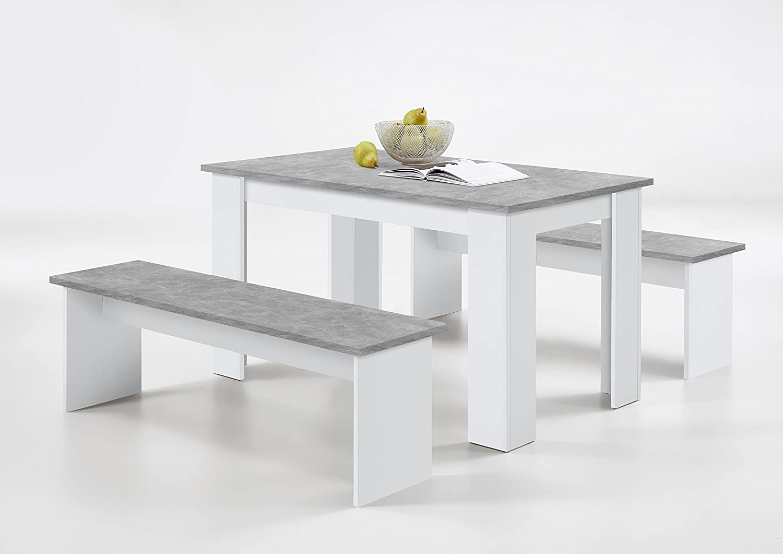 SlumberHaus German Dorma Kitchen Dining Table and 2 Bench Set White Concrete FMD