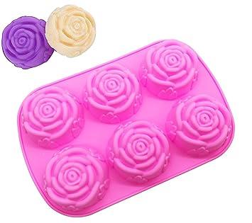 Molde de silicona para jabón grande, molde de rosa, molde para hornear tartas, molde para galletas de chocolate, bandeja para cubitos de hielo de 6 rosas: ...