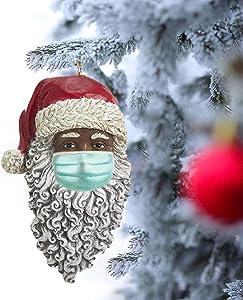 Fairylan Black Santa Head Pendants Masked Santa Ornament African American Santa Christmas Decoration Hangings Xmas Gnomes Ornament Outdoor Tree Decors Santa Holiday Decoration (2Pc)