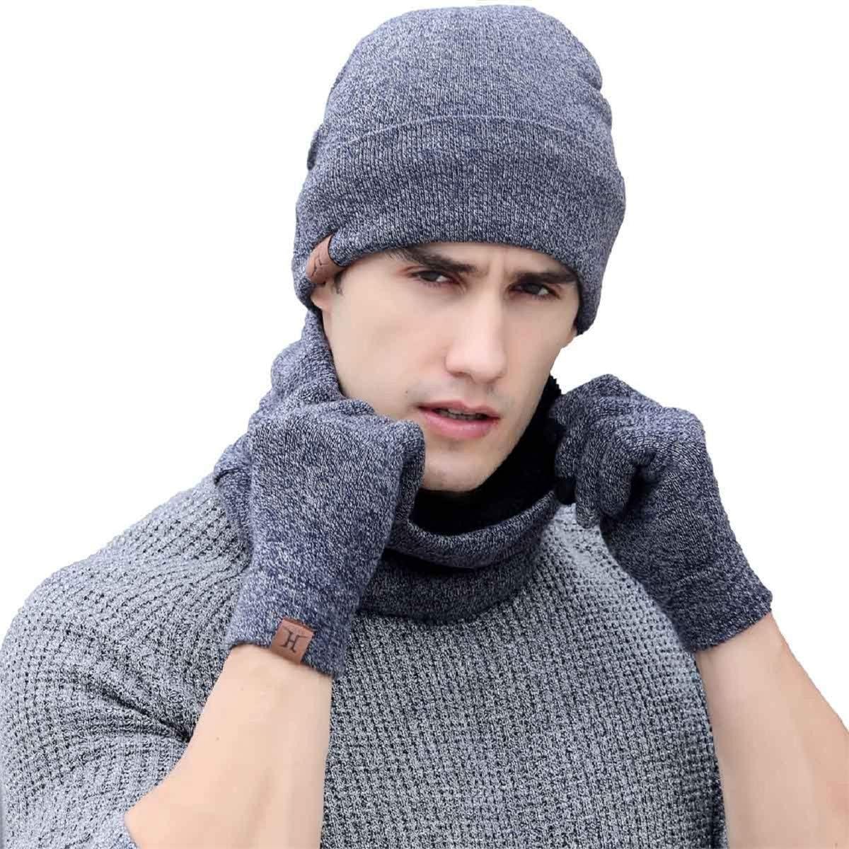 Tuopuda Cappelli Invernali Uomo Cappelli da Donna Invernali Sciarpa Unisex Guanti Invernali Guanti Touch Screen