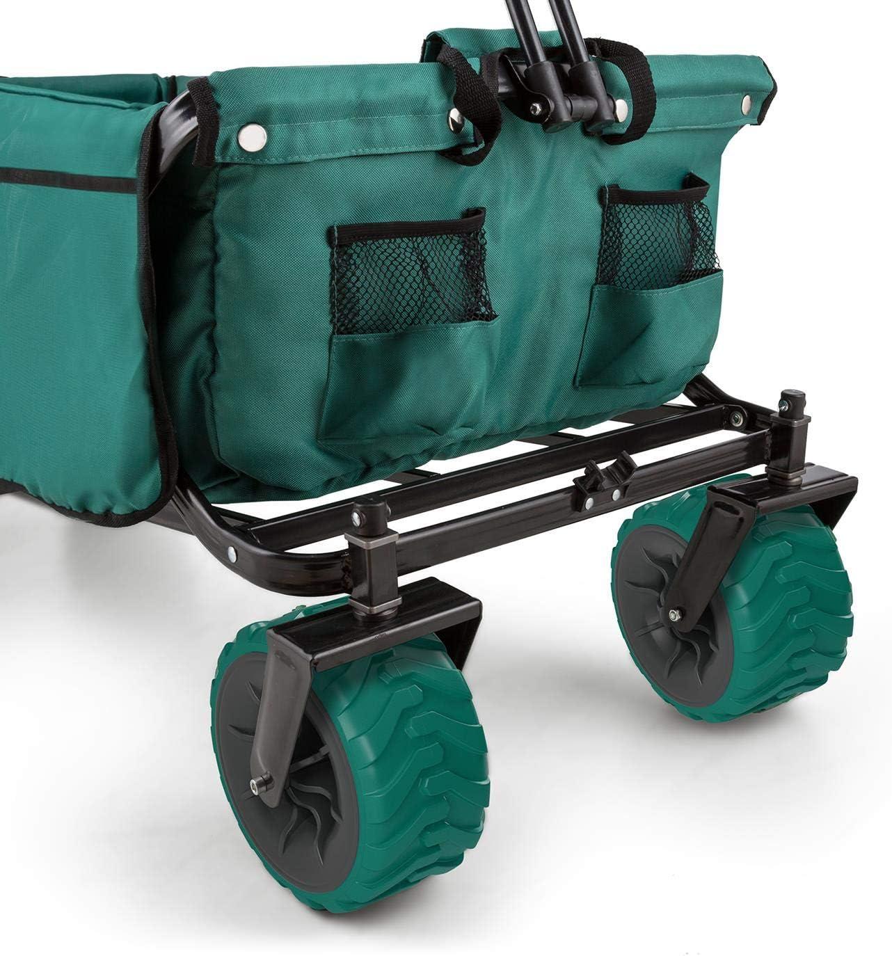 Waldbeck The Green Carro Transporte Plegable jard/ín Verde Carga m/áxima 70kg, 90L Volumen, Bolsillos Laterales, Ruedas Anchas, Suelo Reforzado Acolchado