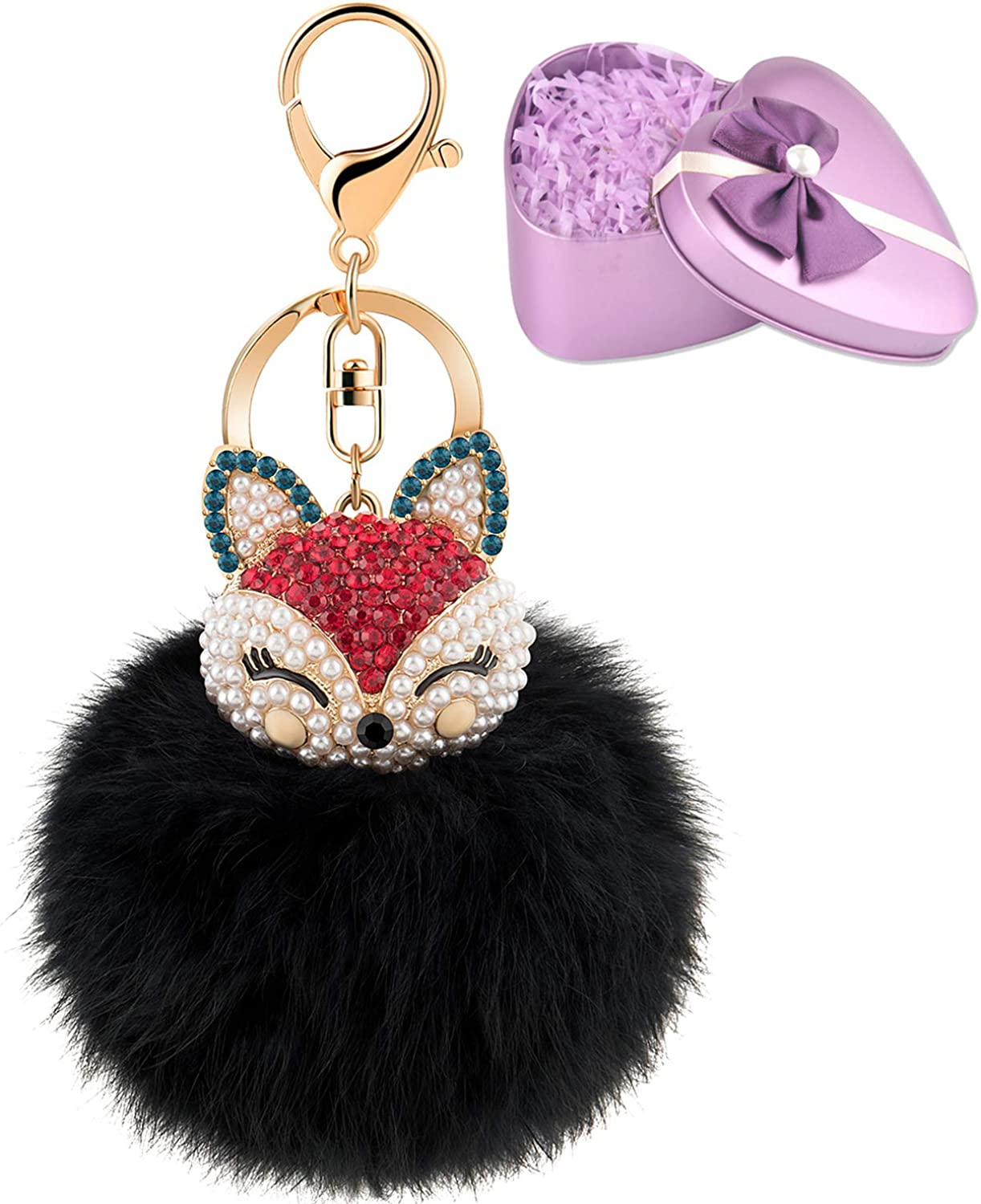 gifts for daughters, Afro Head Resin Keychain with Heart Shape Faux Fox Fur Pom Pom luggage tag gifts for her