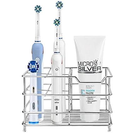 HAOYUNTE Soporte de acero inoxidable para cepillos de dientes, a prueba de óxido, para pasta de dientes, maquinillas de afeitar, organizador, soporte ...