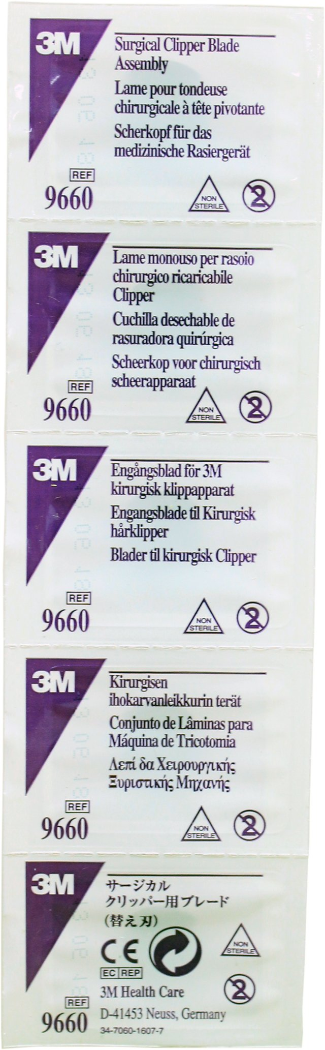 3M Single-use Pivoting Blade Assembly for 9661 Clipper, Purple (Pack of 5)