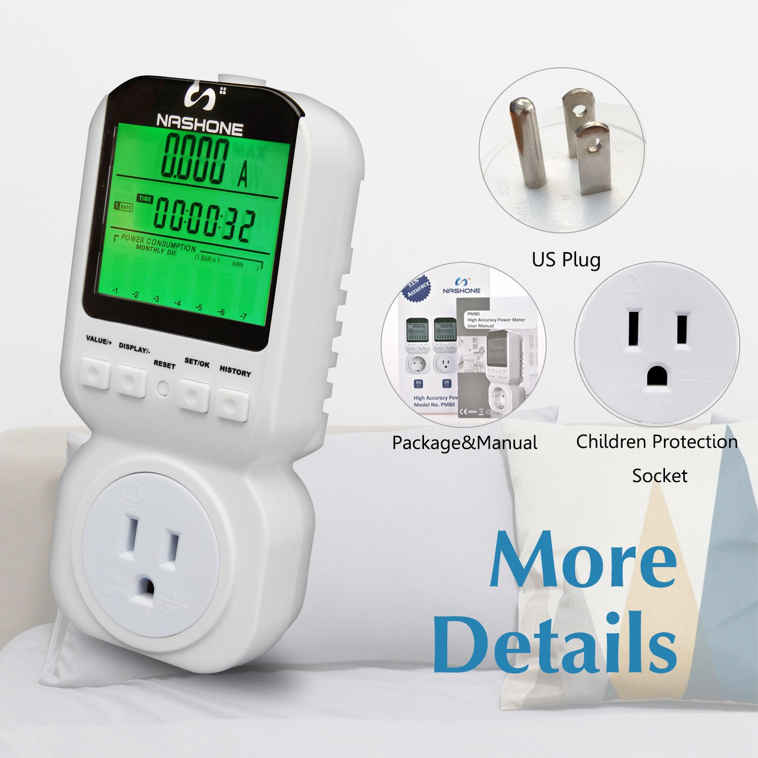 Nashone Digital Electric Power Meter, Smart Home Energy Consumption Monitor,Wall Plugged with Timer LCD Display Overload Alarm by Nashone (Image #7)