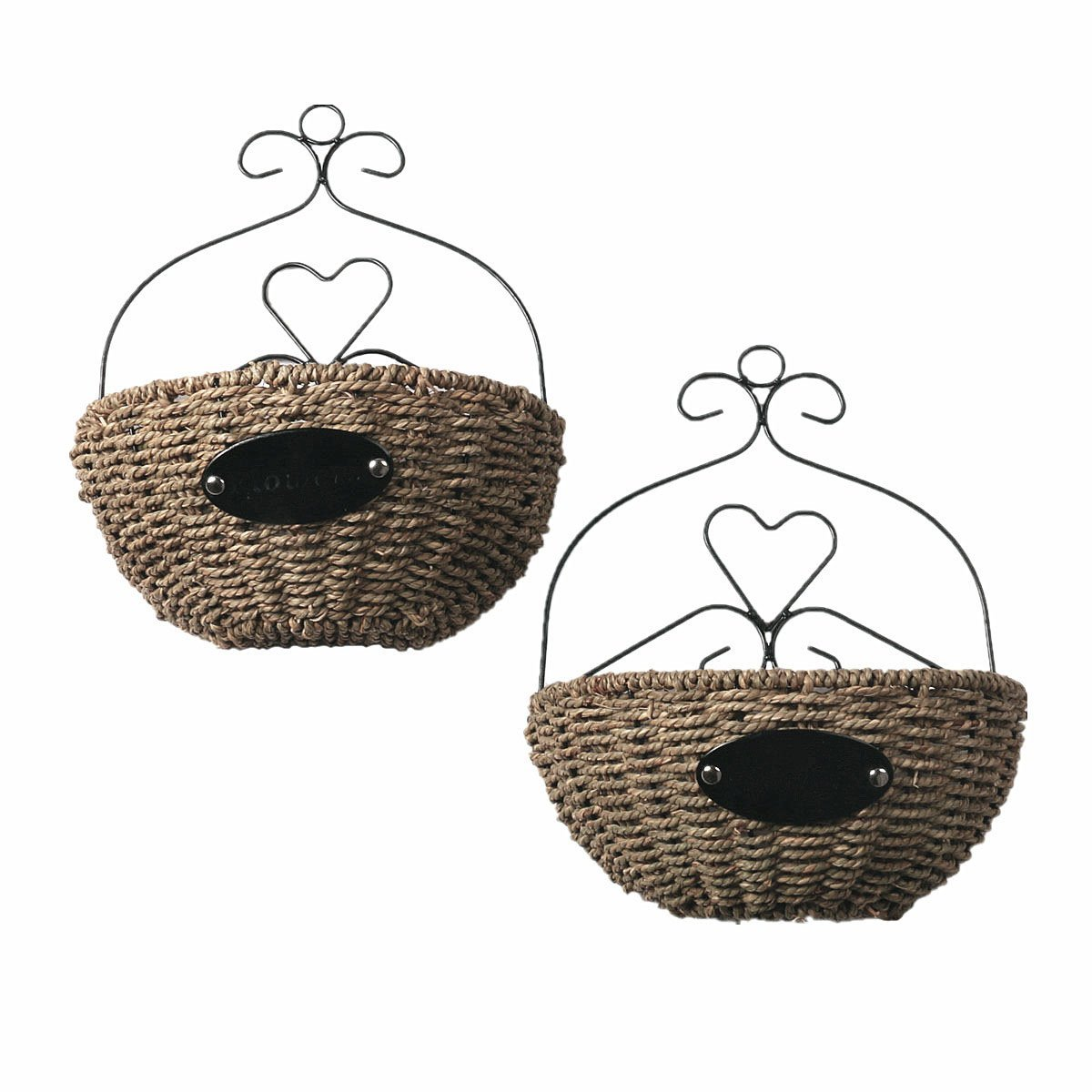 "Hihome 2 Pack Growers Series Hanging Planter Basket Handmade Straw Woven Flower Hanger Garden Decoration Outdoor Watering Hanging Baskets 12 Inch Half Round Hanging Baskets (12"" Half-Round)"