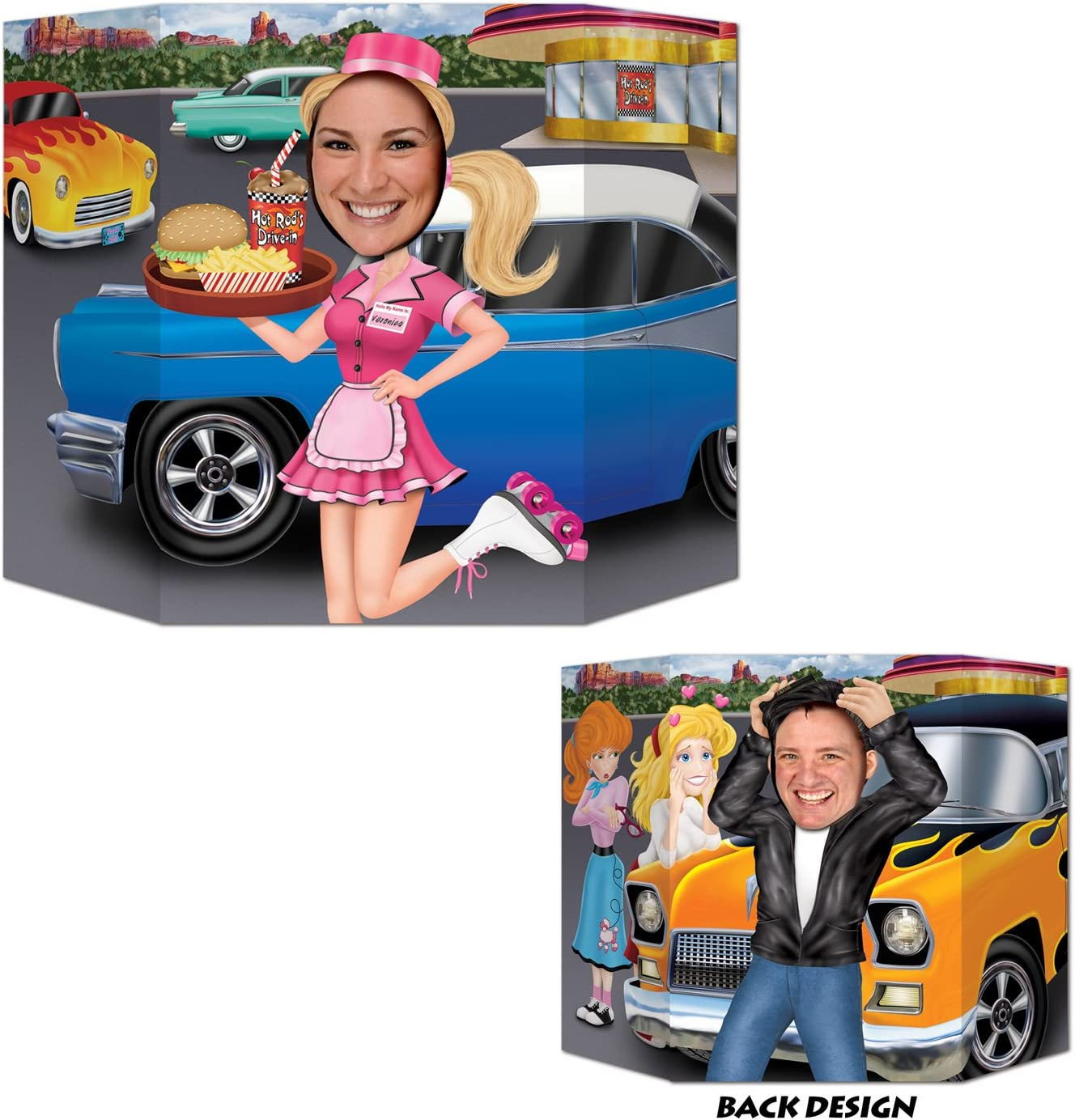 Car Hop/Greaser Photo Prop (1 side car hop; other side greaser) Party Accessory(1 count) (1/Pkg)