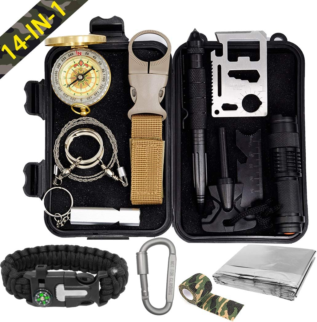 Pocket Survival Kits - Boy Scout Gifts First Aid Kit Camping Gear Emergency Tools Car Gadgets Multitool Hiking Hunting Accessories Fathers Day Graduation Birthday Presents for Dad Son Him Men Husband