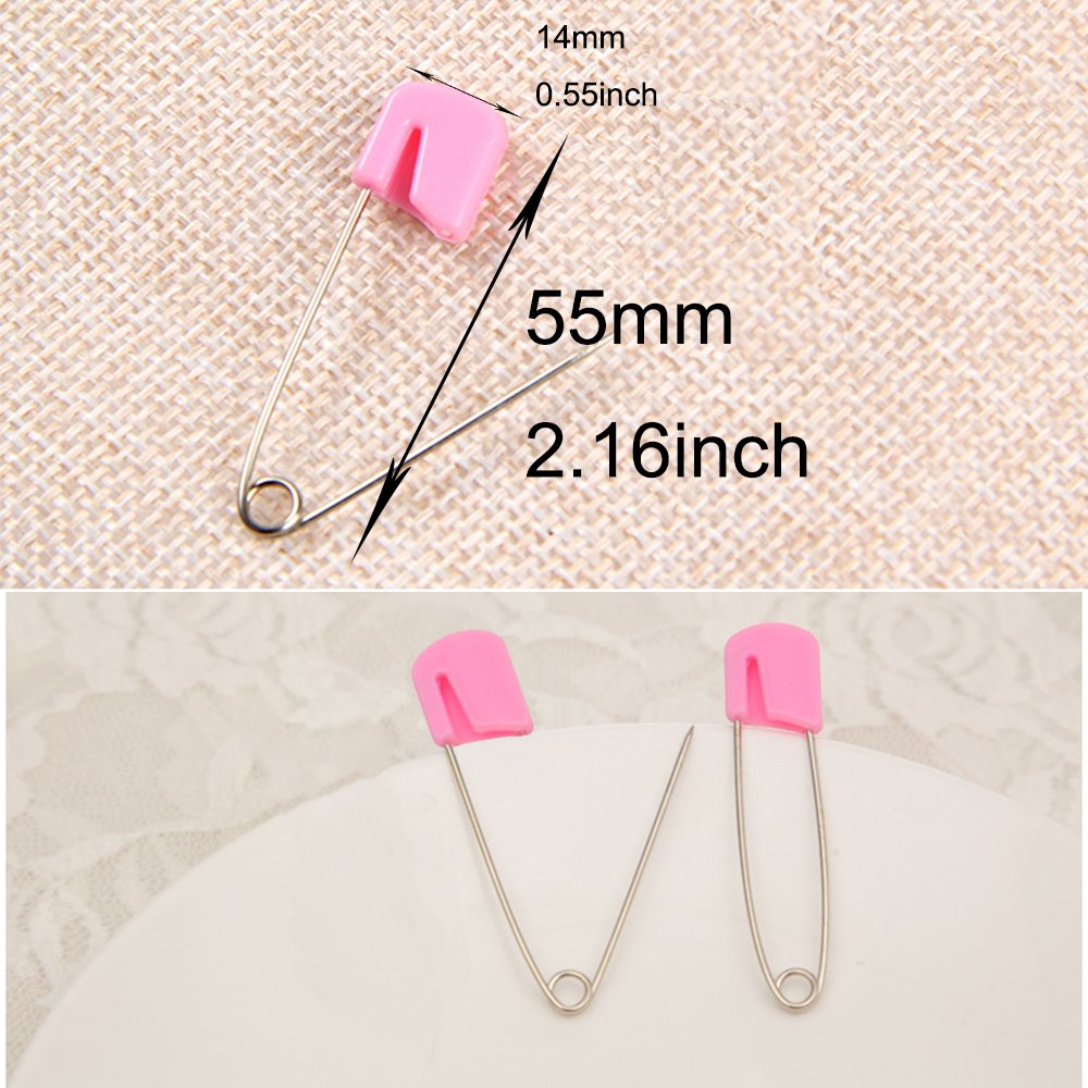 Waykino 50PCS Kids Pins Plastic Head Baby Safety Pins Safety Hold Clip Locking Infant Cloth Diaper Blue