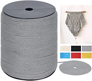 Macrame Cord 3mm x 328Yards, Colored Natural Cotton Macrame Rope - 3 Strands Twisted Colorful Macrame Cotton Cord for Wall Hanging, Plant Hangers, Crafts, Gift Wrapping and Wedding Decorations, Gray
