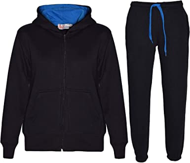 Kids Boys Girls Tracksuit Fleece Black /& Blue Hooded Hoodie Bottom Jogging Suits