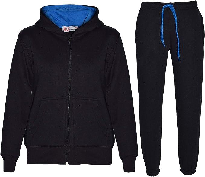 Unisex Kids Contrast Sweatshirt Hooded Hoodi Top Jogger Bottom Tracksuit GYM Set