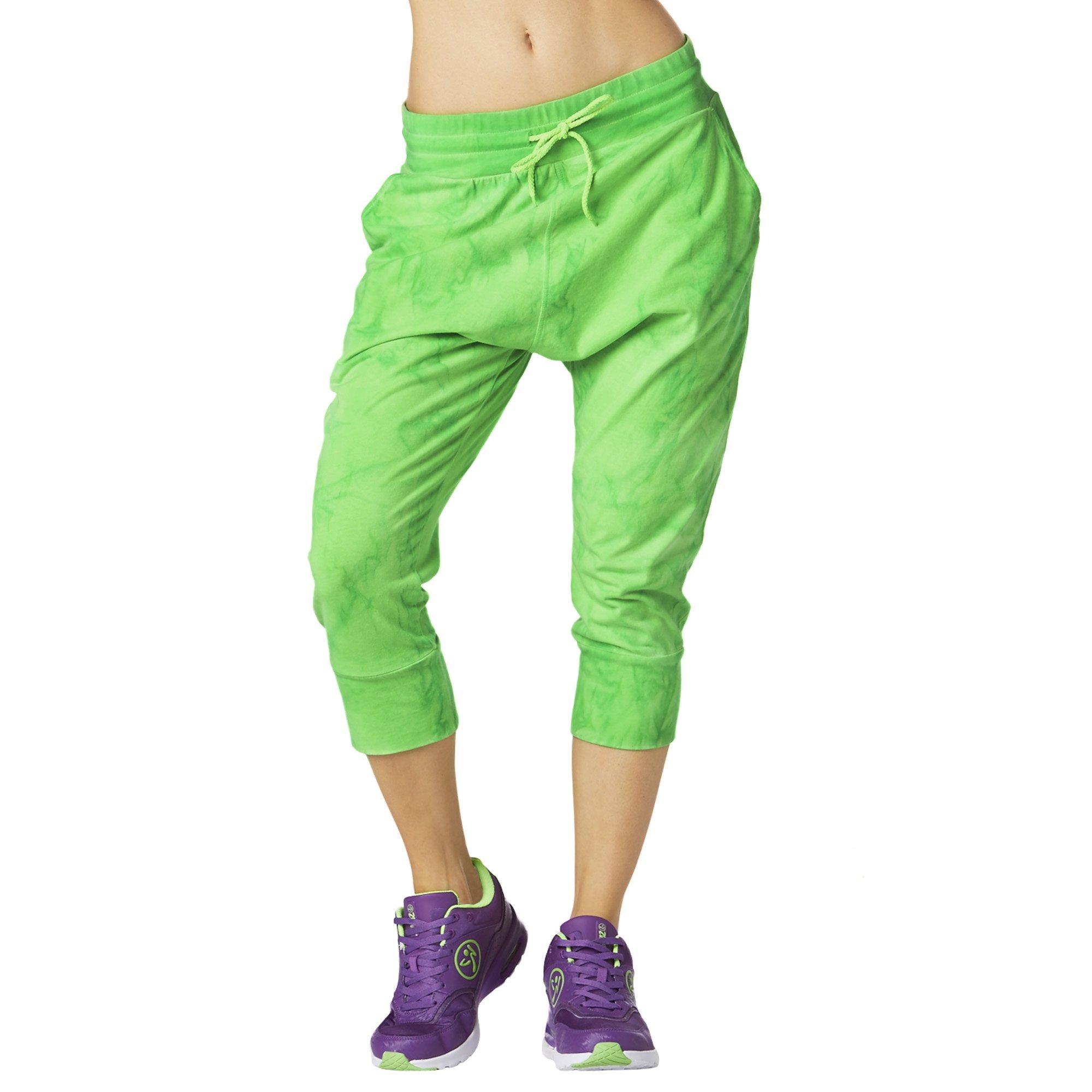 Zumba Women's Harem Capri Pants, Get in Lime, X-Small
