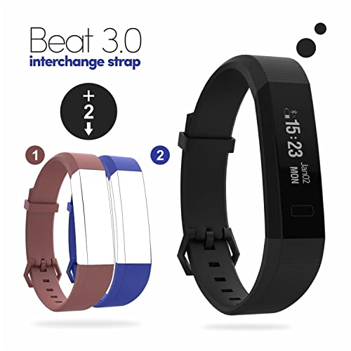 Boltt Beat Bluetooth 3.0 Fitness Tracker Smart Band With Red & Blue Straps For Android/Ios Devices