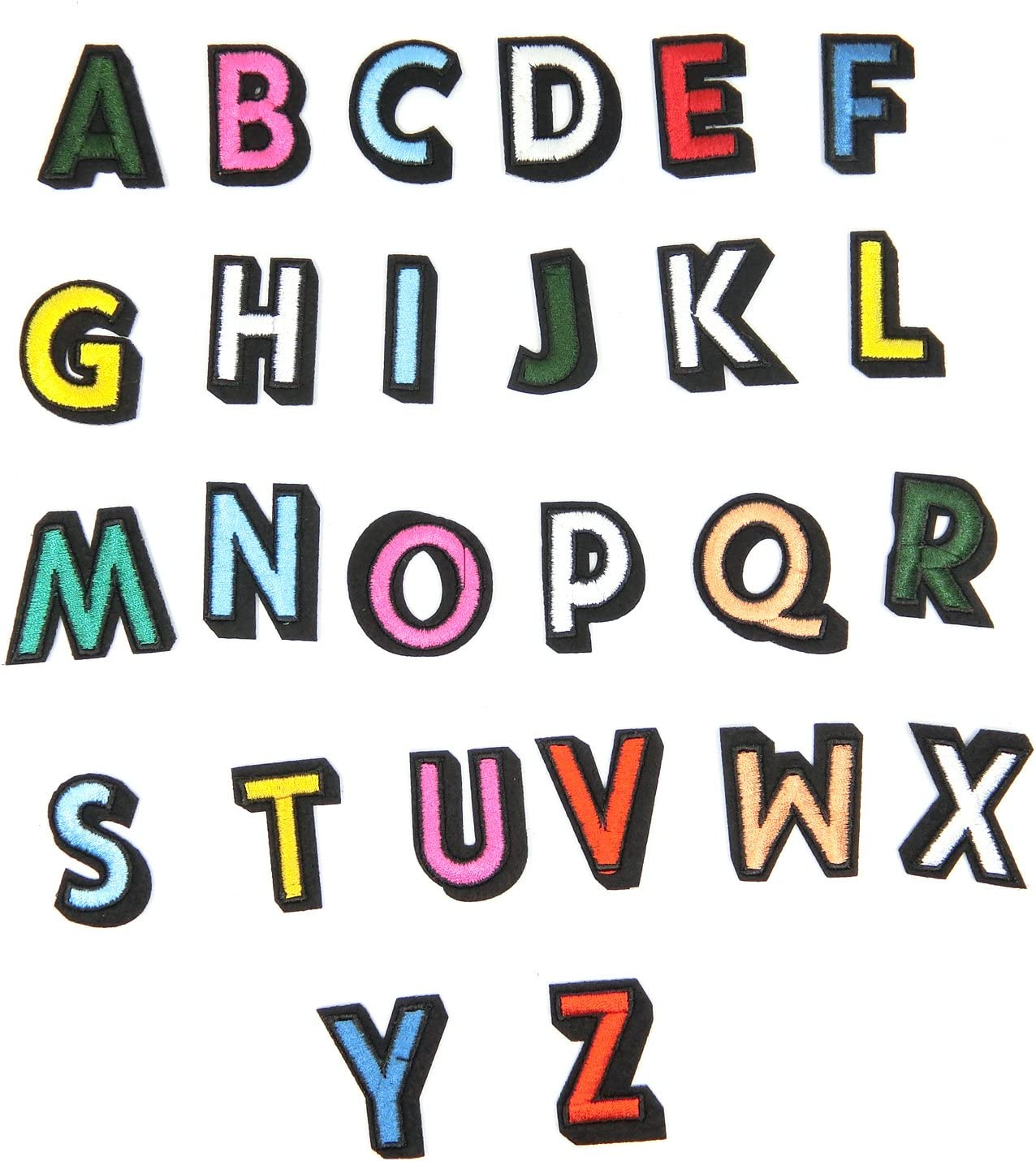 TANGGER Parches Termoadhesivos 26Pcs de letra del alfabeto A-Z Bordados DIY de Costura de Decoración Applique ...