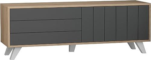 Ada Home D cor Tempo TV Stand, 55 x 19 x 14 , Oak Anthracite