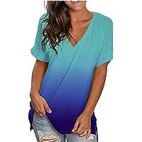 Blusa para Mujer Holgada con Estampado de Moda de Verano con Cuello en V Profundo Talla Grande de Manga Corta Casual…