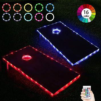 Frienda Cornhole Lights 2 Set 16 Colors Change Cornhole Board Edge Night Lights LED with Remote Control for Family Backyard Bean Bag Toss Cornhole Game