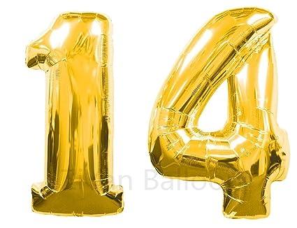 number 14 birthday balloon