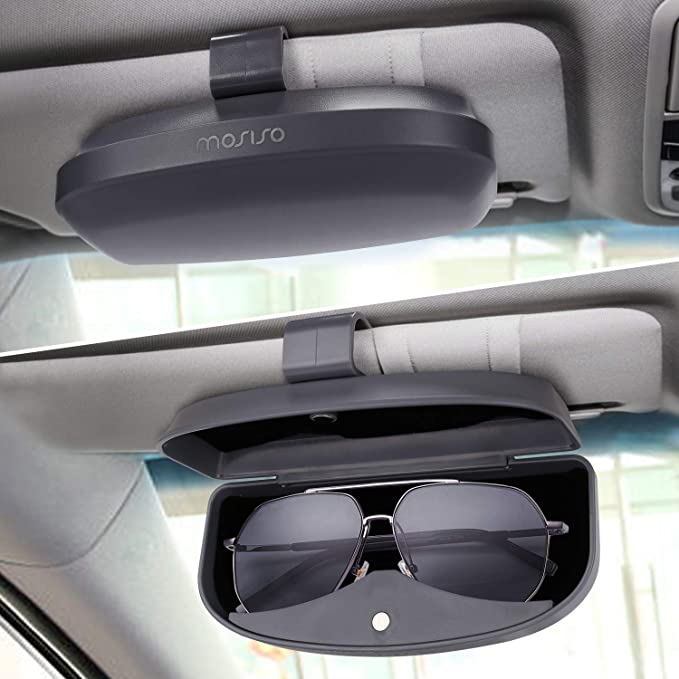 Blacksuit Autoban Leather Sunglass Clip Sun Visor Car Eyeglasses Holder for All Motors Auto Vehicle