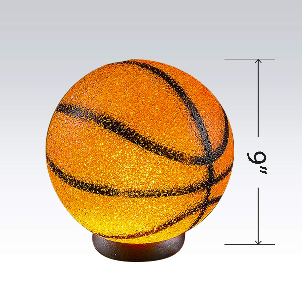 Kicko Sparkle Basketball Lamp Housewarming House Decoration themed-Parties Room Decoration 9 Inch Basketball Ball Shaped Lamp with Sturdy Plastic Base for Kid Bedrooms
