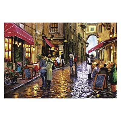 1000 Pieces Jigsaw Puzzles Starry Street Night for Kids View Painting for Adults Education Stress Reliever Puzzles Stay at Home (Coffee Street): Toys & Games