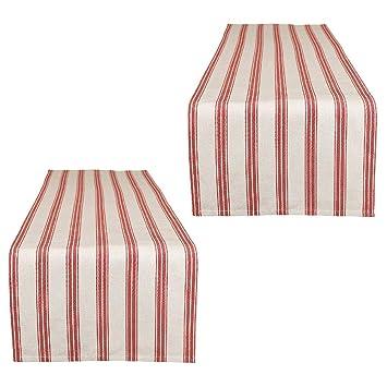 Dibor Tischläufer, Extra lang, Rot/Weiß gestreift, Baumwolle, rot ...