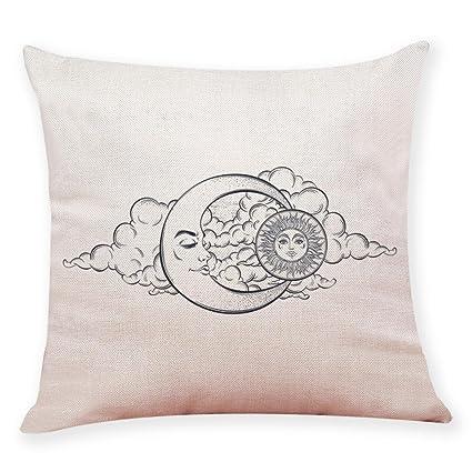 yjydada decoración del hogar funda de cojín Sol Luna patrón manta funda de almohada fundas de