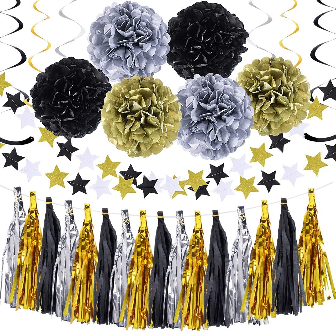 Black Gold Silver Party Supplies Decorations Tissue Paper Pom Pom Flowers Tassel Garland Banner for New Year Eve Graduation Wedding Party (Black,Gold,Silver)