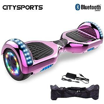 CITYSPORTS Hoverboard 6.5 Pulgadas, Self Balancing Scooter Patinete Eléctrico, Ruedas de Led Luces, Bluetooth, Motor 700W: Amazon.es: Deportes y aire libre