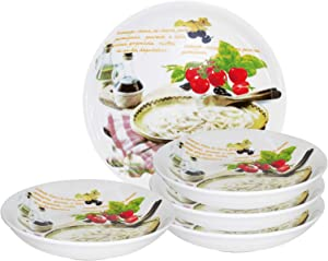 Lorren Home Trends 5 Piece Porcelain Pasta Set Mamma Mia Design, Multicolor