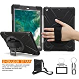iPad 5th Generation Case, BRAECN 360 Degree Swivel Stand/ a Hand Strap/ a Shoulder Strap Case[Heavy Duty]Three Layer Ultra Hybrid Shockproof Full-Body Protective Case for New iPad 9.7 2017/2018 Case(Black)