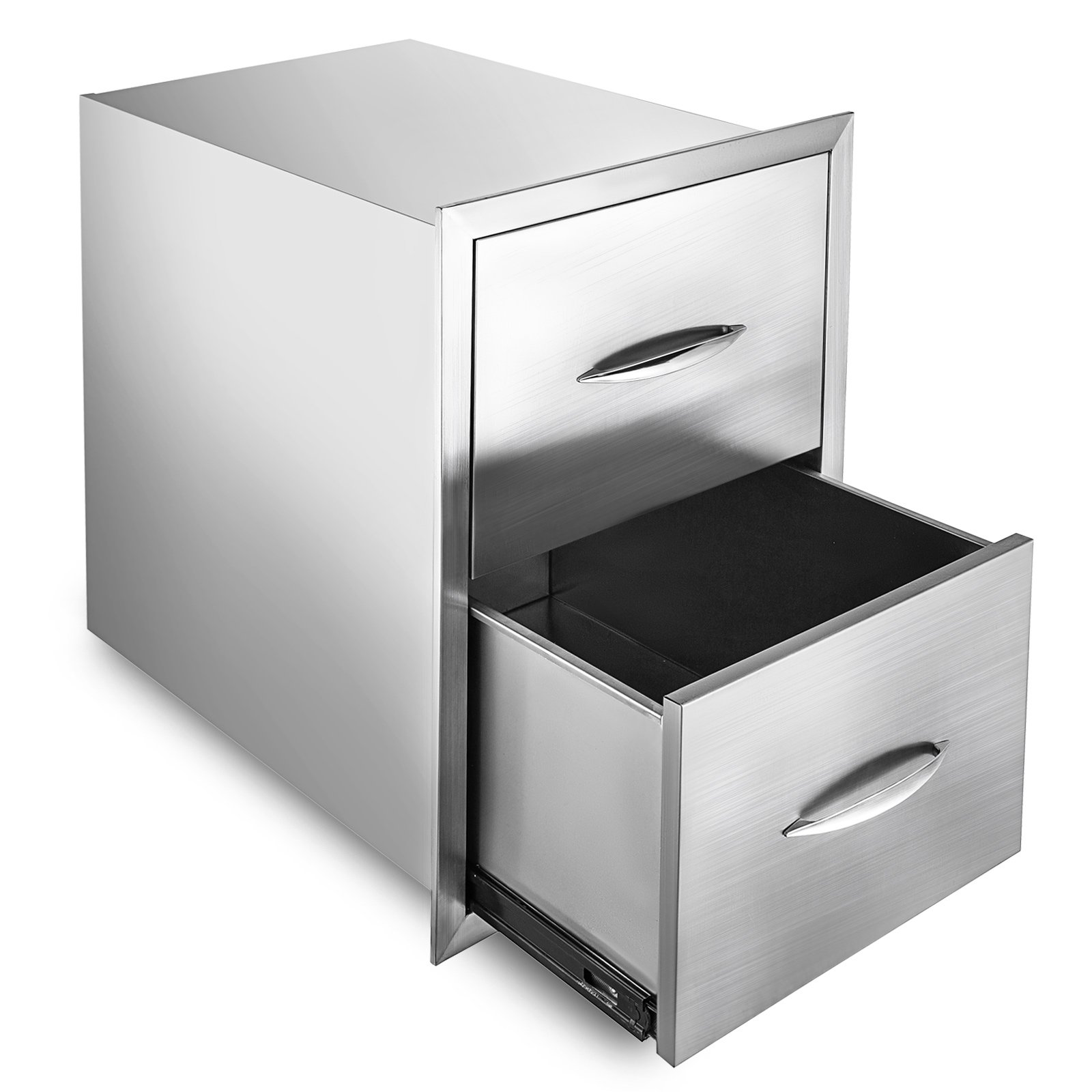 Happybuy Outdoor Kitchen Drawer 24''x18'' Stainless Steel BBQ Island Drawer Storage with Chrome Handle Double Access Drawer Flush Mount Sliver Double Access Drawer (Outdoor Kitchen Drawer 24''x18'')