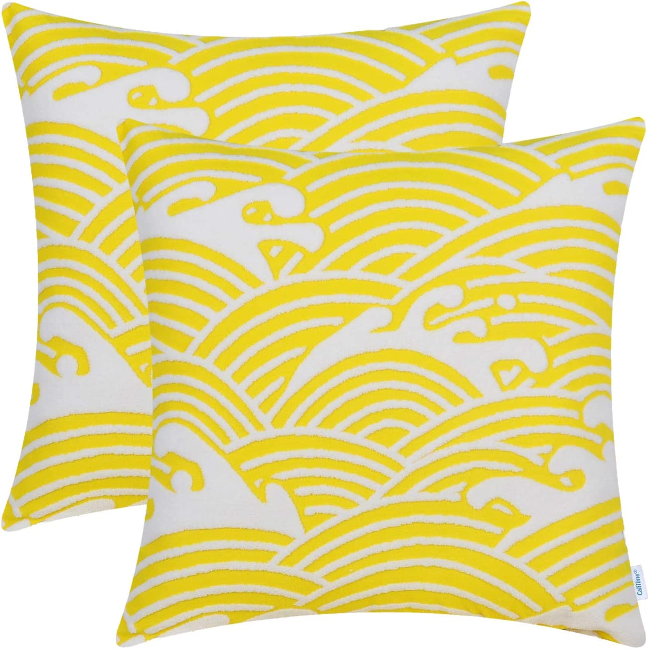 CaliTime Pack of 2 Supersoft Throw Pillow Covers Cases for Couch Sofa Bed Bedding Fluffy White Ocean Waves 18 X 18 Inches Vibrant Yellow