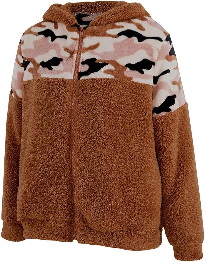 Eoeth Fashion Women Plush Zipper Outwear Tunic Lady Winter Camouflage Top Long Sleeve Blouse Loose Coat Hoodie Sweatshirt