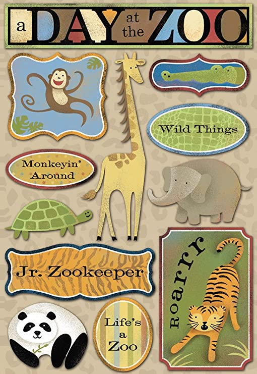 A DAY AT THE ZOO 3d Glitter Scrapbook Stickers