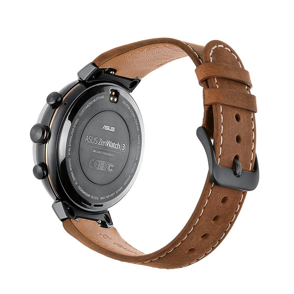 Kartice pour Asus ZenWatch 3 Band, vintage Cuir véritable Smart Bracelet de montre bracelet de remplacement avec sécurisé Boucle Fermoir en métal pour Asus ...