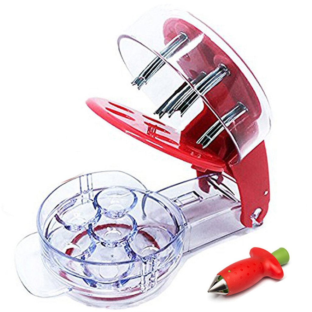 Condello Casa Stainless Steel Cherry Pitter Redcherry Pit Remover Tool Machine for Mason Jar 6 Cherries and Strawberry Huller Corer Stem Remover Metal Set Red Jinyi