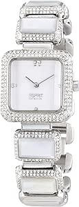 ساعة كوارتز للنساء من مجموعة اسبريت بلون ابيض مع سوار معدني، طراز EL101162F02