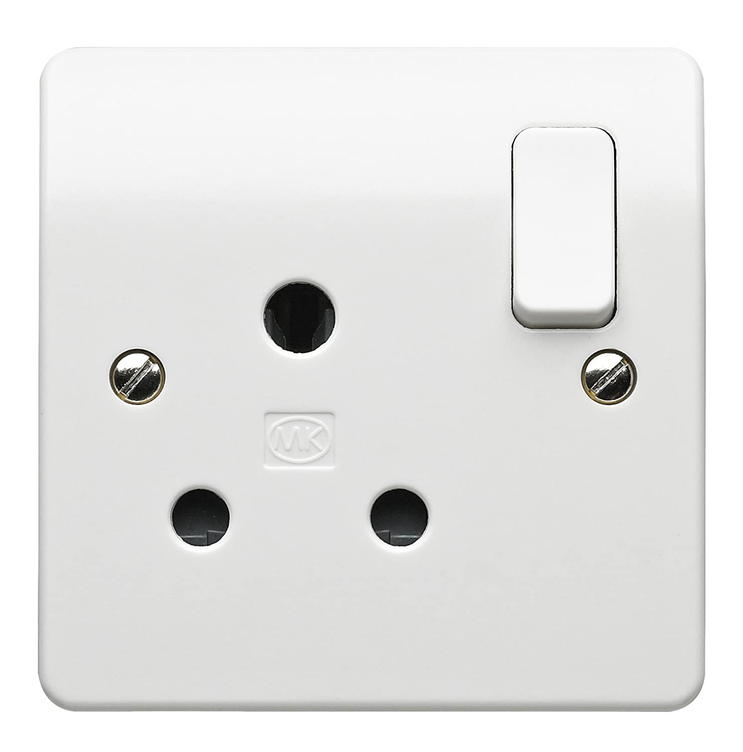 MK K2893WHI 15 amp 1-Gang Round-Pin Switch Socket: Amazon.co.uk: DIY ...