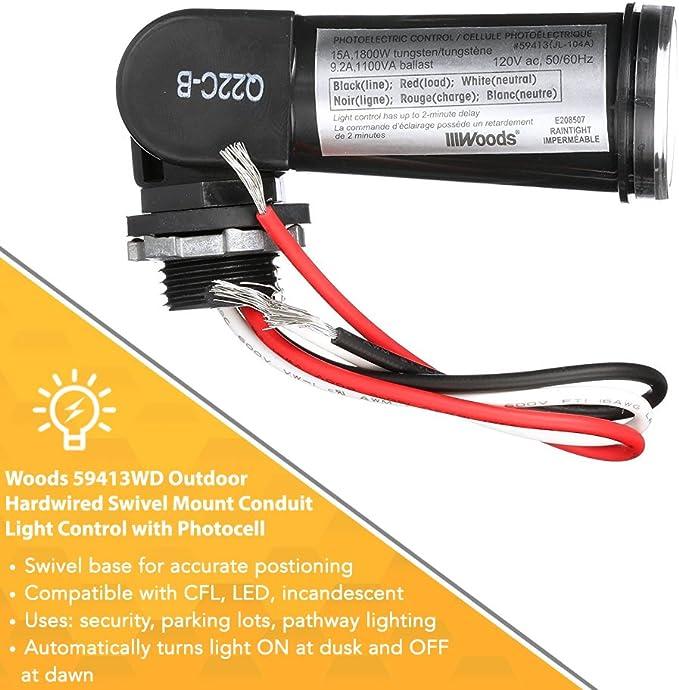Lighting Control Woods Outdoor Conduit Photocell Swivel Mount Hardwired