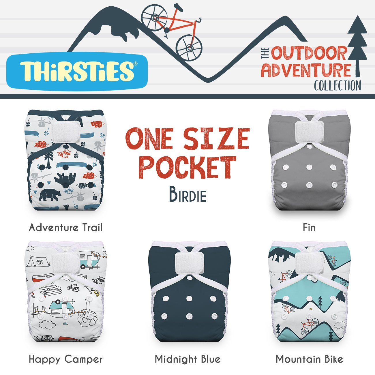 Thirsties Package, One Size Pocket Diaper Hook & Loop, Outdoor Adventure Collection Birdie