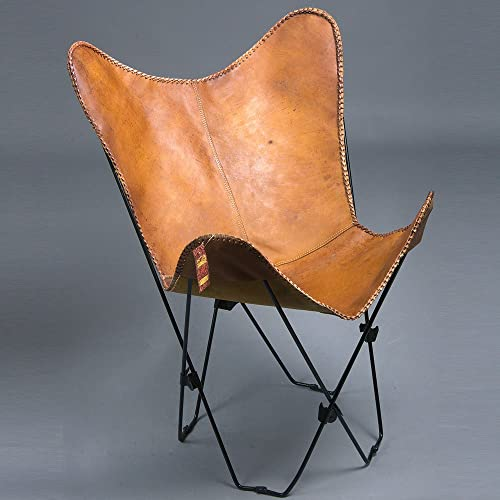 TEXANDECOR Genuine Leather Butterfly Chair Folding Lounge Modern Sling Accent SEAT
