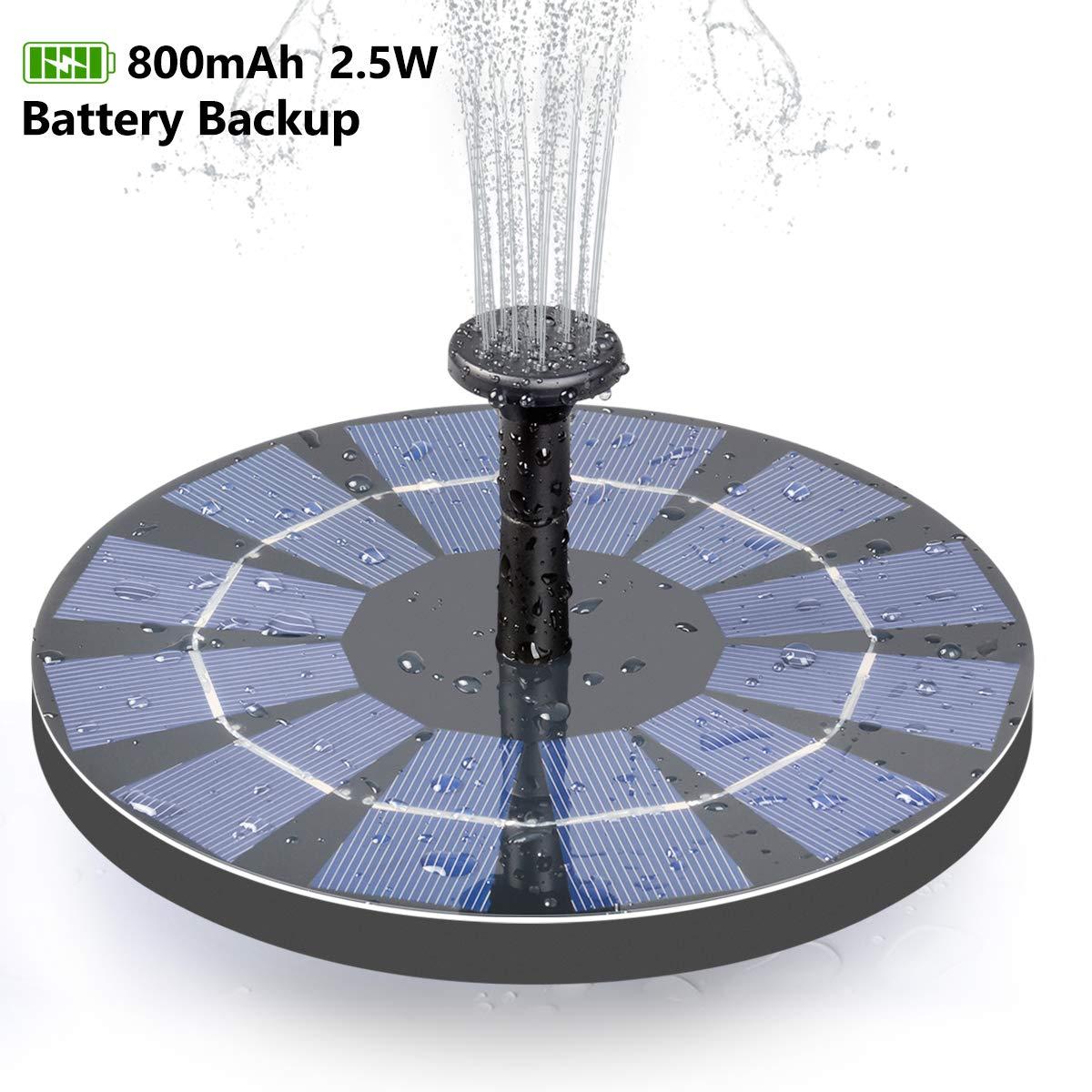 ADDTOP Solar Bird Bath Fountain with Battery Backup, 2.5W Free Standing Water Pump for Birdbath, Garden, Pond, Pool, Outdoor by ADDTOP