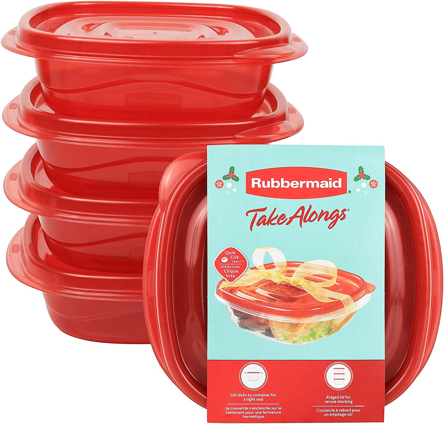 Rubbermaid TakeAlongs 2.9-Cup Square Food Storage Containers, 4-Pack