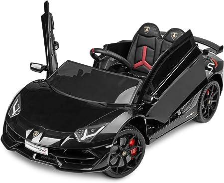 BEE BEE Auto elettrica per Bambini 12V. Lamborghini Aventador, Macchina con luci LED e Display multimediale (Nero)