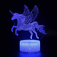 Unicorn Night Light,3D Optical Illusion LED Lamp for Kids, 16 Colors Change Function with Remote Control, Bedroom & Home…