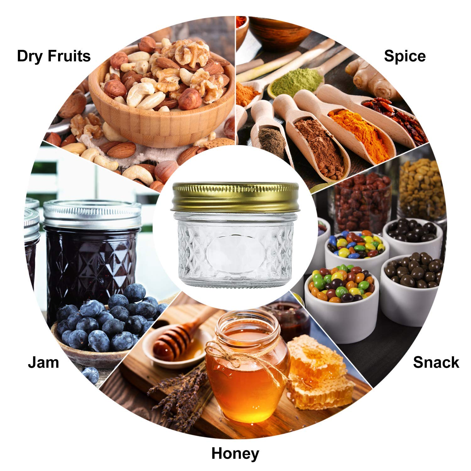 Encheng 4 oz Glass Jars With Lids And Bands,Small Canning Jars For Caviar,Herb,Jelly,Jams,Mini Wide Mouth Mason Jars For Kitchen Storage Preserving Food And Party Favors 40 Pack ... by Encheng (Image #5)